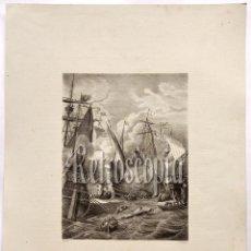 Arte: LITOGRAFIA HISTORIA DE ESPAÑA CAP CXVIII TRIUNFO DE LA ARMADA CRISTIANA EN GIBRALTAR LIT. SERRA 1871. Lote 58213268