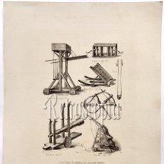 Arte: LITOGRAFIA HISTORIA DE ESPAÑA CAPITULO CXLII MÁQUINAS DE GUERRA DE LA EDAD MEDIA LIT. SERRA 1871. Lote 58213281