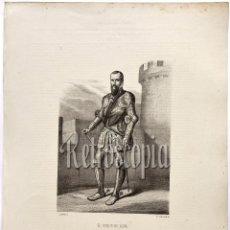 Arte: LITOGRAFIA HISTORIA DE ESPAÑA CAPITULO XC EL DUQUE DE ALBA LIT. SERRA 1871. Lote 58213294