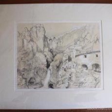 Arte: VISTA DE LA CIUDAD DE RONDA. LITOGRAFÍA S.XIX DE J. F. LEWIS.. Lote 58684927