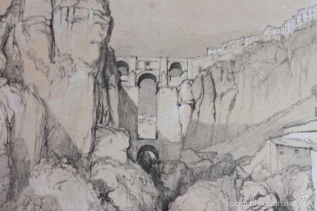 Arte: VISTA DE LA CIUDAD DE RONDA. LITOGRAFÍA S.XIX DE J. F. LEWIS. - Foto 4 - 58684927
