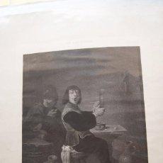 Arte: LITOGRAFIA BEBEDORES Y FUMADORES REAL MUSEO DE MADRID DAVID TENIERS LITOGRAFIA DE C NANTEUIL. Lote 59851588