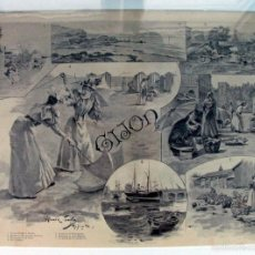 Arte: ANTIGUA PRECIOSA LITOGRAFIA. GIJON 1896 ALVAREZ SALA PARA BLANCO Y NEGRO EN MARCO DE 1900. ASTURIAS. Lote 60021527