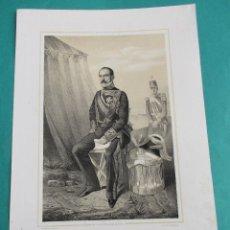 Arte: LITOGRAFÍA SIGLO XIX. ESTADO MAYOR DEL EJÉRCITO ESPAÑOL. CAPITÁN GENERAL DE BURGOS. 44,5 X 31 CM.. Lote 60246835