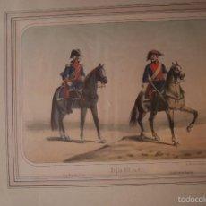 Arte: LITOGRAFIA SIGLO XIX VILLEGAS GUARDIA DE CORPS Y CARABINEROS REALES. Lote 60282859