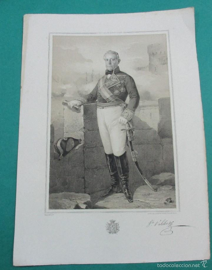LITOGRAFÍA SIGLO XIX.ESTADO MAYOR DEL EJÉRCITO ESPAÑOL.TNTE GENERAL FRANCISCO VALDÉS . 44,5 X 31 CM. (Arte - Litografías)