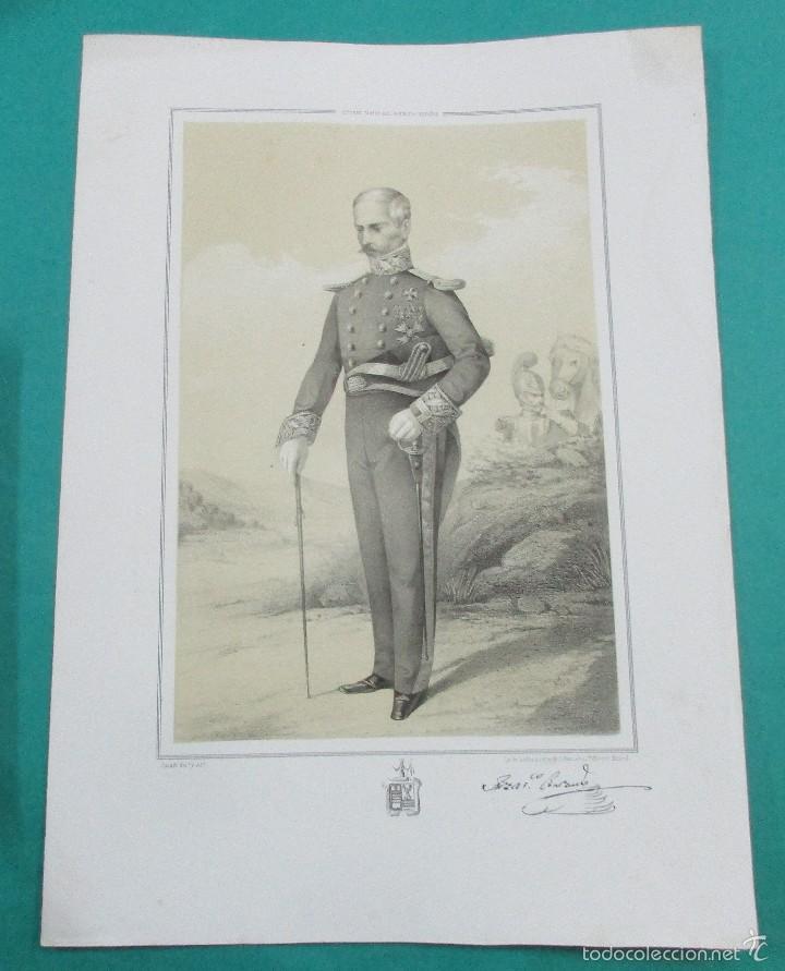 LITOGRAFÍA SIGLO XIX. ESTADO MAYOR DEL EJÉRCITO ESPAÑOL. FRANCISCO B.. 44,5 X 31 CM. (Arte - Litografías)