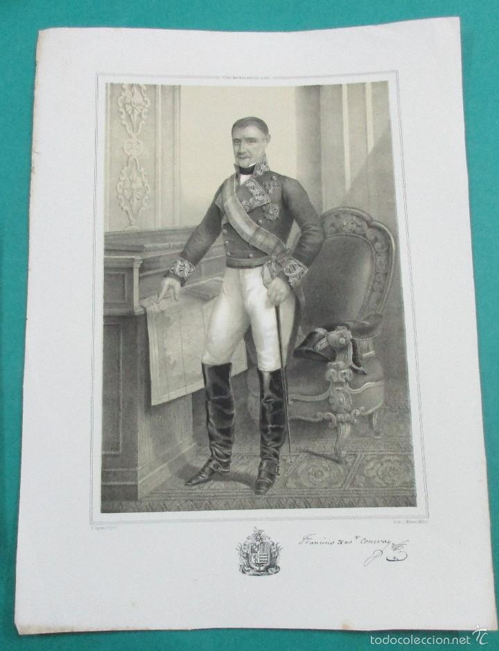 LITOGRAFÍA SIGLO XIX. ESTADO MAYOR DEL EJÉRCITO ESPAÑOL. MARISCAL FRANCISCO CONWAY . 44,5 X 31 CM. (Arte - Litografías)