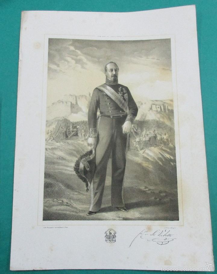 LITOGRAFÍA SIGLO XIX. ESTADO MAYOR DEL EJÉRCITO ESPAÑOL. FRANCISCO .... . 44,5 X 31 CM. (Arte - Litografías)