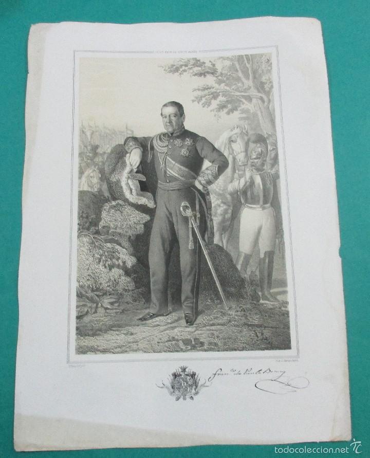 LITOGRAFÍA SIGLO XIX. ESTADO MAYOR DEL EJÉRCITO ESPAÑOL. FRANCISCO DE PAULA . 44,5 X 31 CM. (Arte - Litografías)