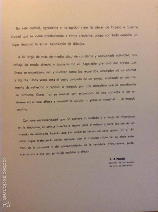 Arte: PICASSO DIBUJOS - GOUACHES - ACUARELAS SALA GASPAR BARCELONA ABRIL 1961 LITOGRAFIA ORIGINAL COMPLETA - Foto 4 - 69923706