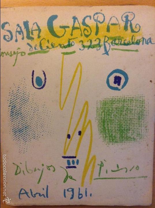 PICASSO DIBUJOS - GOUACHES - ACUARELAS SALA GASPAR BARCELONA ABRIL 1961 LITOGRAFIA ORIGINAL COMPLETA (Arte - Litografías)