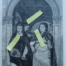 Arte: LITOGRAFIA VINTAGE ARTE DIBUJO ILUSTRACION ARTISTICA 1882 CUARTETO MUSICA CUERDA VIOLIN BANDURRIA . Lote 63084116