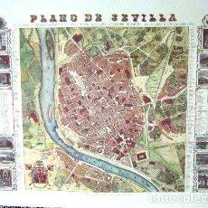 Arte: PLANO DE SEVILLA. AÑO 1868. 69 X 48,5 CM. LIT-118,5. Lote 147582716