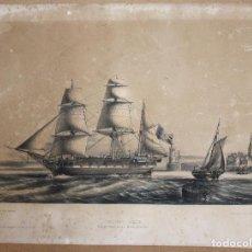 Arte: LITOGRAFIA NAUTICA. TROIS MATS-BARQUE. COURANT TRIBORD AMURES. ENTRÉE DE LA LOIRE. SIGLO XIX. Lote 63788679