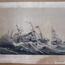 Arte: LITOGRAFIA NAUTICA. PAQUEBOTS AMÉRICAINS A VOILE ET A VAPEUR. SIGLO XIX. Lote 63789335
