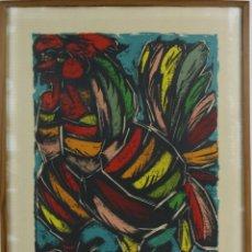Arte: K1-005 GALLO, LITOGRAFIA EN COLORES, FIRMADA, MEDIADOS SIGLO XX.. Lote 44636944