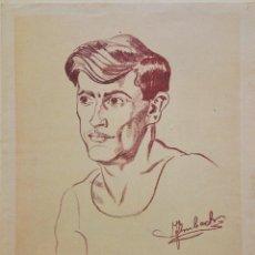 Arte: INTERESANTE RETRATO FIRMADO A LAPIZ, ART DECO. Lote 66828190