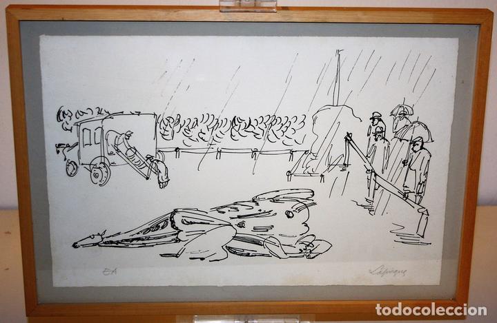 J2-041. EL ACCIDENTE. CHARLES LAPICQUE (1898-1988). LITOGRAFÍA EN NEGRO. FRANCIA. 1950 (Arte - Litografías)