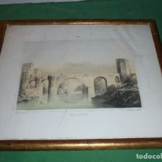 Arte: (M) TOLEDO - PUENTE DE S. MARTIN - LITOGRAFIA CON MARCO DORADO DE EPOCA S. XIX . Lote 69399085