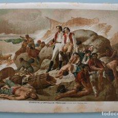 Arte: EPISODIO DE LA BATALLA TRAFALGAR (CUADRO FRANCISCO SANZ): ANTIGUA LITOGRAFIA COLOR J. PALACIOS XIX. Lote 71197465