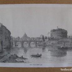 Arte: LITOGRAFÍA DEL CASTILLO DE SAN`T ÁNGELO Y EL VATICANO AL FONDO, BAÑADO POR EL RÍO TÍBER EN ROMA. Lote 72789267