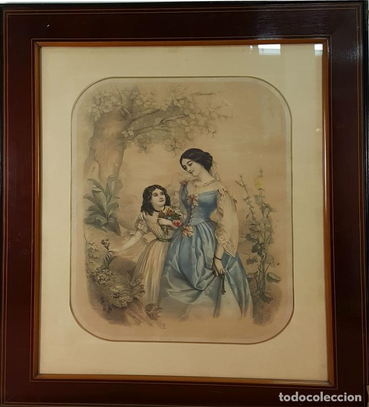 madre e hija. litografia enriquecida. marco est - Comprar ...
