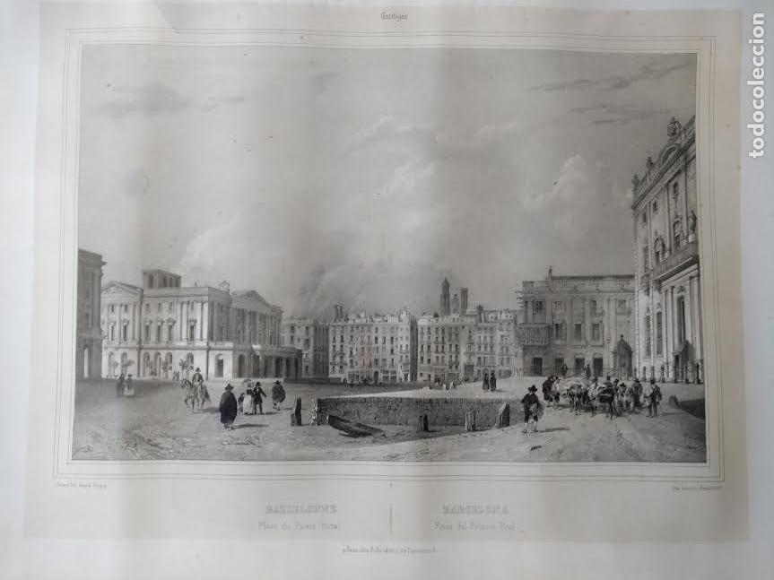 NICOLAS CHAPUY, BARCELONA , PLAZA PALACIO REAL. 1844 (Arte - Litografías)