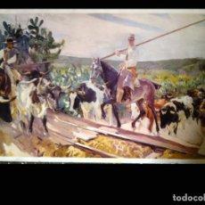 Arte: REPRODUCCION GRANDE DEL CUADRO - EL ENCIERRO - DE SOROLLA SALA EXPOSIONES LA CAIXA. TAMAÑO 135X65 . Lote 74229911