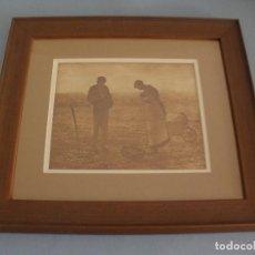 Arte: CUADRO EL ANGELUS DE MILLET LAMINA LITOGRAFIA GRABADO CIRCA 1900, IMPECABLE. Lote 183750068