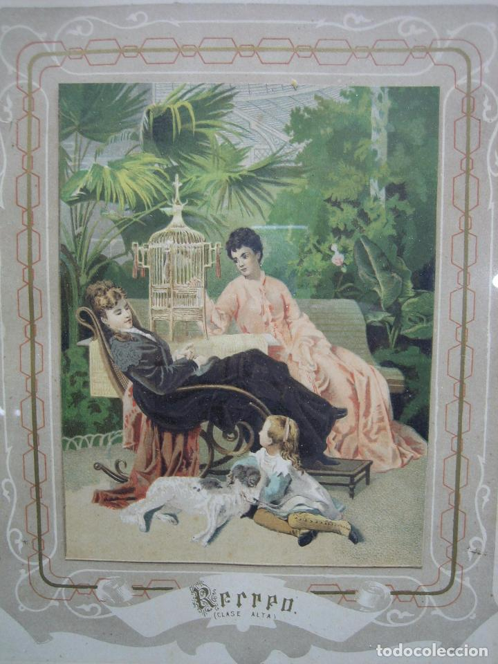 Arte: Antigua litografia coloreada . Medidas cuadro 25x31 cm - Foto 2 - 75787139