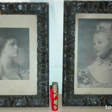 Arte: DOS ANTIGUOS CUADROS CON MARCO DE MADERA LABRADA Y DOS LITOGRAFIAS DE PERSONAJES FEMENINOS.. Lote 77312685