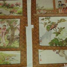Arte: 6 LITOGRAFÍAS DE PERSONAJES ORIENTALES Y PÁJAROS. Lote 77858647