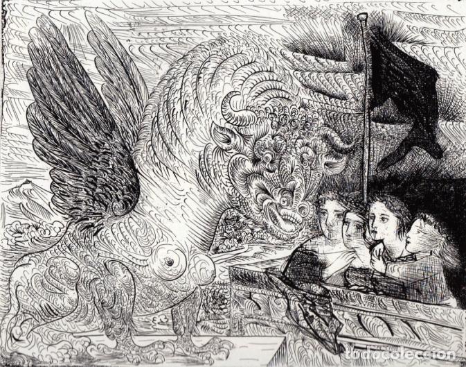 PICASSO LITOGRAFÍA FACSÍMIL TORO ALADO CONTEMPLADO POR CUATRO NIÑOS C.O.A SUITE GALLERY VERLAG 1956 (Arte - Litografías)