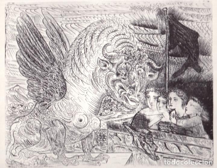 Arte: PICASSO LITOGRAFÍA FACSÍMIL TORO ALADO CONTEMPLADO POR CUATRO NIÑOS C.O.A SUITE GALLERY VERLAG 1956 - Foto 3 - 80604050
