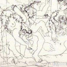Arte: PICASSO LITOGRAFÍA FACSÍMIL ESCULTOR EN REPOSO Y BACANAL CON TORO C.O.A SUITE GALLERY VERLAG 1956. Lote 80663842