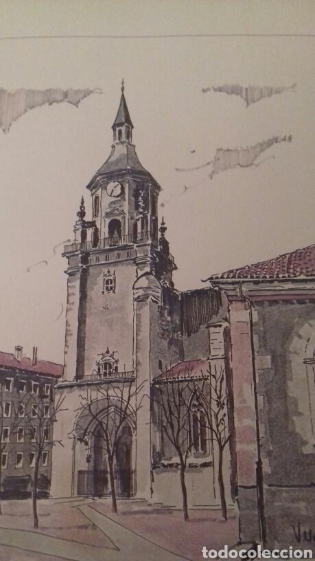 Arte: Litografia Catedral de Santa Maria Vitoria Victor Ugarte numerada y firmada - Foto 2 - 80678774