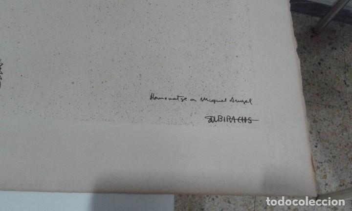 Arte: Subirachs, prueba de impresion para el cartel homenaje a Miguel Angel en papel Arches - Foto 3 - 80930180