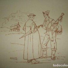 Arte: GALICIA TIPOS GALLEGOS GAITERO LITOGRAFIA AÑOS 40 IBARRA ILUSTRADOR. Lote 81198336