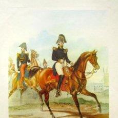 Arte: LITOGRAFÍA OFICIAL GENERAL, TENIENTE GENERAL Y CAPITÁN. 44 X 32 CM . Lote 81488880