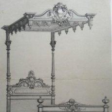 Arte: GUILMARD, LITOGRAFÍA A GRAFITO, 1847. CAMA MODELO LUIS XIII. Lote 81665732