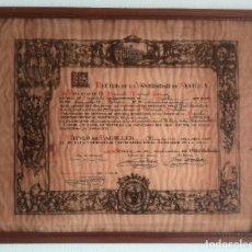 Arte: SANTIAGO MARTÍNEZ, LITOGRAFÍA EN PERGAMINO TÍTULO DE BACHILLER, UNIVERSIDAD DE SEVILLA 1938. Lote 81688812