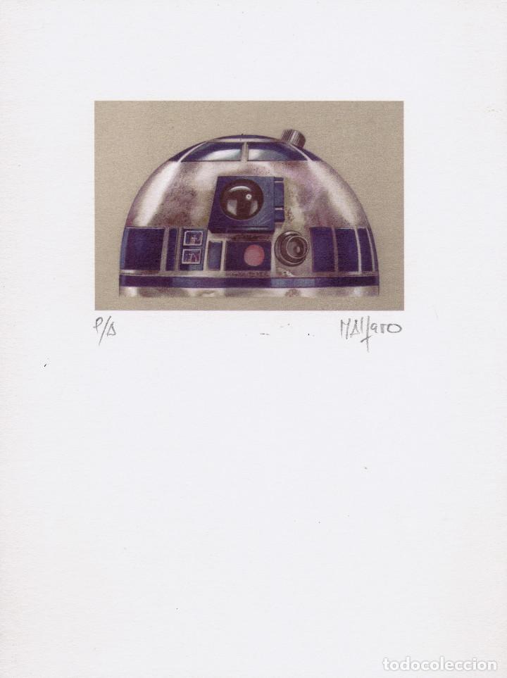 LITOGRAFÍA. PRUEBA DE AUTOR -R2D2- ENMARCADA. STAR WARS. AUTOR: M. ALFARO (Arte - Litografías)