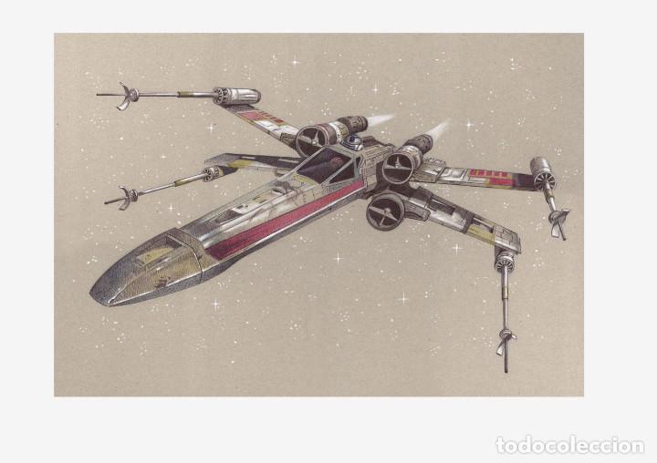 Arte: Carpeta con 4 láminas (tipo litografía). VEHÍCULOS -STAR WARS-. Autor: M. Alfaro - Foto 4 - 144021725