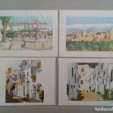 Arte: MARBELLA, TORREMOLINOS, FRIGILIANA, GRANADA, 4 VISTAS LITOGRAFIADAS. Lote 89604152