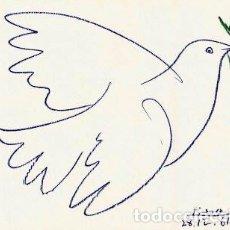 Arte: PABLO PICASSO PALOMA AZUL LITOGRAFÍA FIRMADA Y FECHADA EN PLANCHA 1961 EDITIONS COMBAT POUR LA PAIX. Lote 150274852