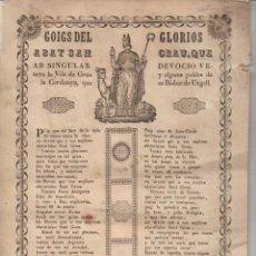 Arte: GOIGS DEL GLORIÓS ABAT SANT GRAU, DE LA VILA DE GRÚS, CERDANYA (IMP. J. DIUMENGE, PUIGCERDÁ, 1850). Lote 96312947
