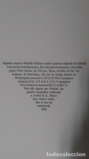 Arte: LUIS RACIONERO Y GABRIEL - METALLS ONIRICS - 4 GRABADOS FIRMADOS, EJ. H.C. - Foto 13 - 96766575