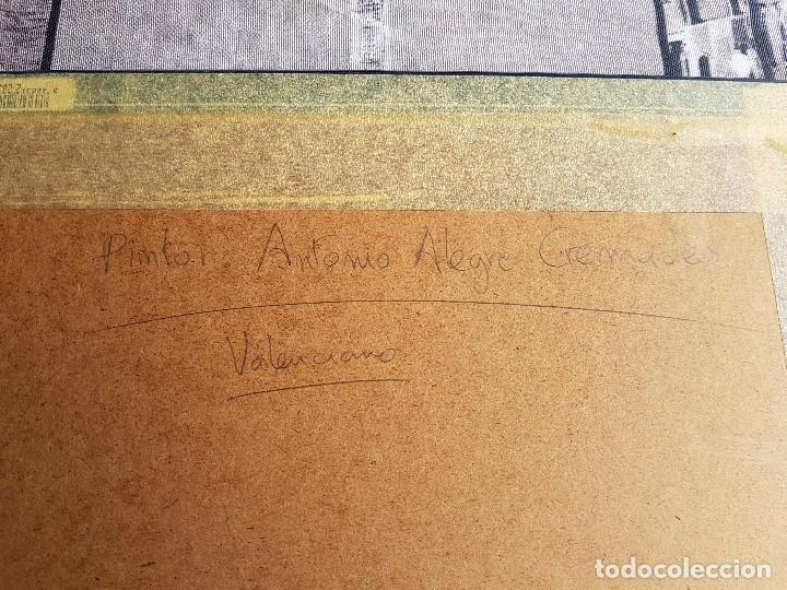 Arte: Litografia enmarcada del pintor Antonio Alegre Cremades, firmada y numerada, 78/100. - Foto 10 - 96969059