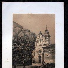 Arte: MONASTERIO AGUILAR DE CAMPOO - PALENCIA - LITOGRAFIA ORIGINAL EPOCA - PARCERISA - 1861 - 32,5X23CM. Lote 97614291
